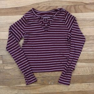 """Maroon and white striped Hollister """"crop"""" top"""